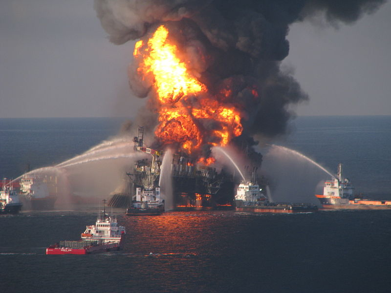 The Deepwater Horizon oil platform on fire