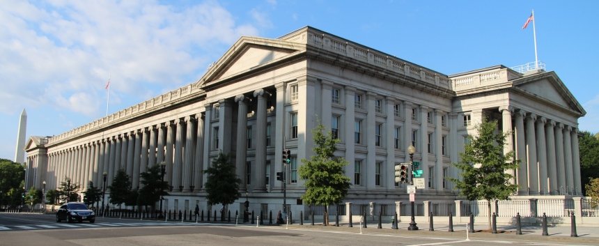 The United States Treasury Building in Washington, D.C.